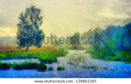 Digital structure of painting. Pond in the forest - stock photo