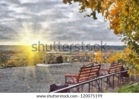 Digital structure of painting. Quiet place at the site - stock photo