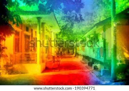 Digital structure of painting. Rainbow street