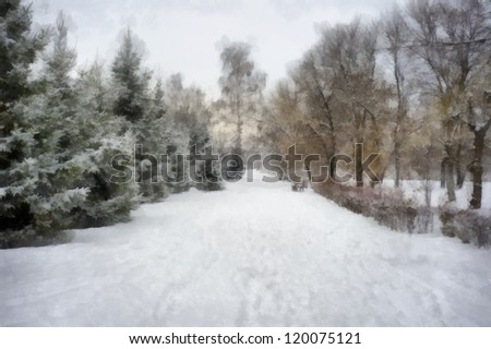 Digital structure of painting. Snowy alley - stock photo