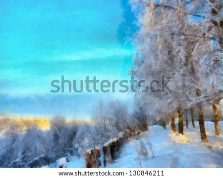 Digital structure of painting. Snowy landscape