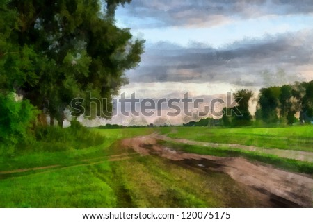 Digital structure of painting. Summer rural landscape - stock photo