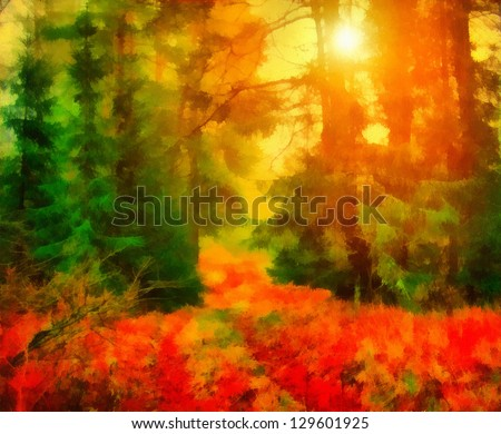 Digital structure of painting. Sunny landscape - stock photo