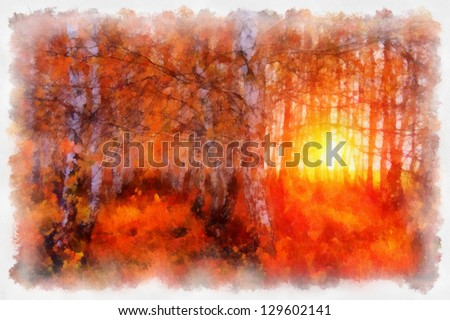 Digital structure of painting. Sunny tree - stock photo