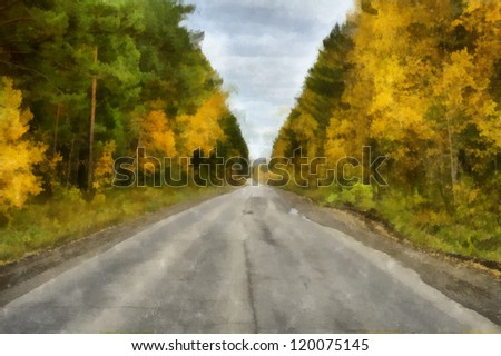 Digital structure of painting. Track through the woods - stock photo