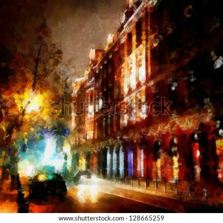 Digital structure of painting. Watercolor evening cityscape - stock photo