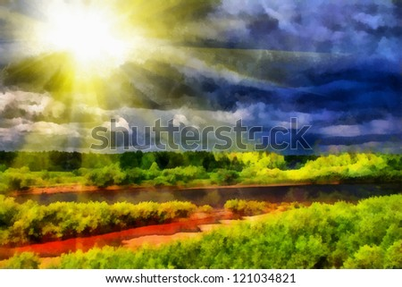 Digital structure of painting. Watercolor landscape in the fores - stock photo