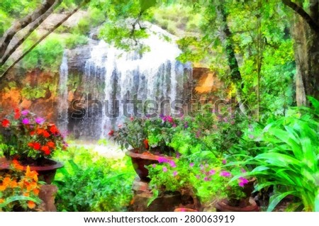 Digital structure of painting watercolor. Waterfall with flowers around