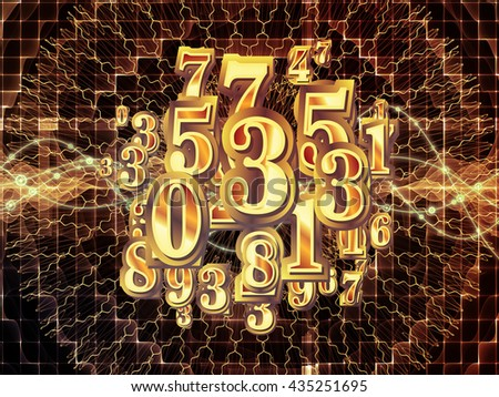 Digital Swirl series. Interplay of digits and technological patterns on the subject of math, science and education - stock photo