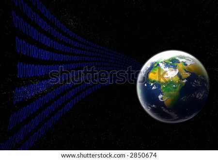 digital symbols coming from planet earth concept