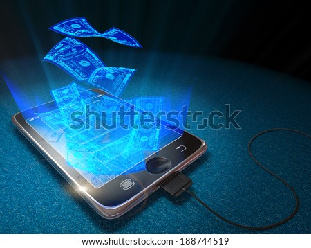 Digital tablet and currency as web money and business concept background  - stock photo