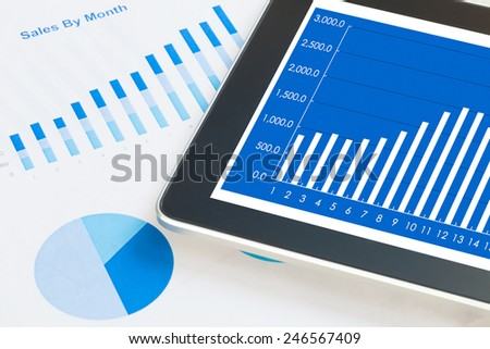digital tablet and smartphone with financial chart report, paper, pen on work table. Above view shot.