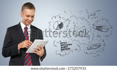 Digital Tablet, Business, Businessman. - stock photo