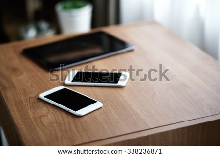 Digital tablet computer and smart phone - stock photo