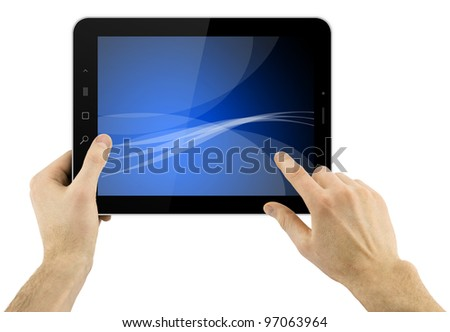 digital tablet computer with abstract blue wallpaper in hands over white background - stock photo