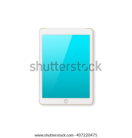 Digital tablet computer with blue screen with clipping path isolated on white background. - stock photo