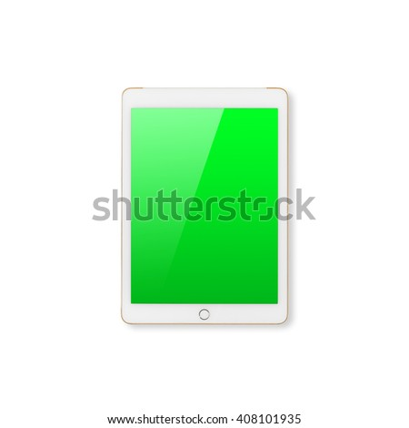 Digital tablet computer with green screen with clipping path isolated on white background. - stock photo