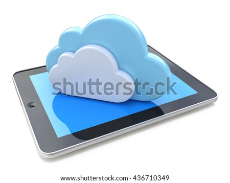 Digital tablet connected with cloud computing on the white background in the design of information related to computer technology. 3d illustration - stock photo