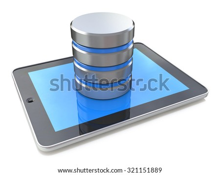 Digital tablet connected with database on the white background