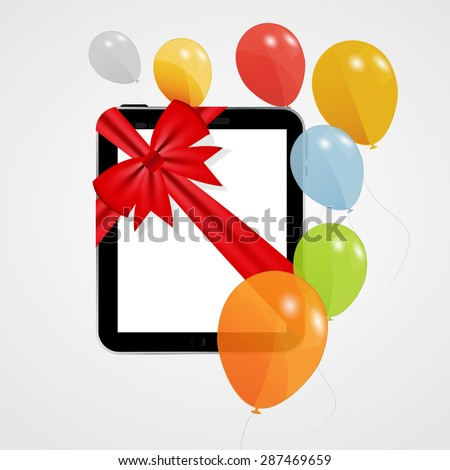 Digital Tablet Gift  Illustration with Balloons.  - stock photo