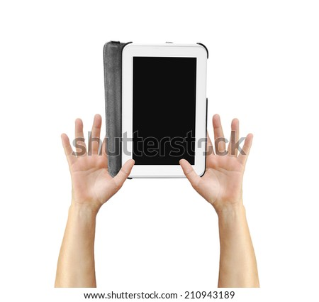 Digital Tablet held in hands isolated on white background - stock photo