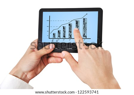 digital tablet in hand  on a white background