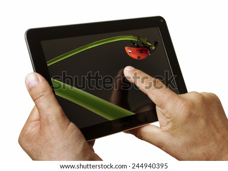 Digital tablet in man hands.