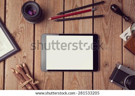 Digital tablet mock up for artwork or app design presentation. View from above - stock photo