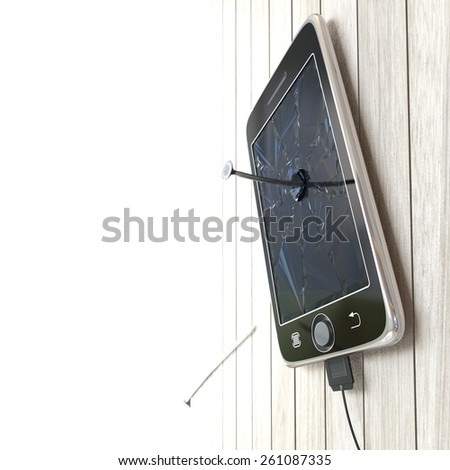 Digital tablet on wooden desk with nails concept background - stock photo