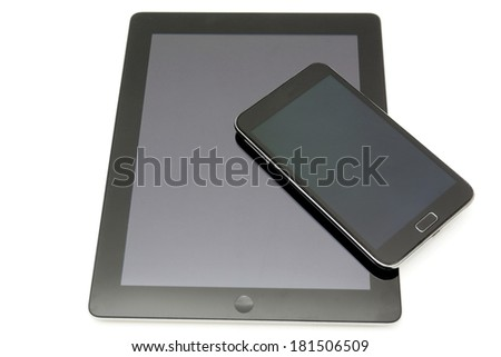 digital tablet pc and modern smart phone - stock photo
