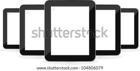 Digital tablet PC set isolated on white background. raster