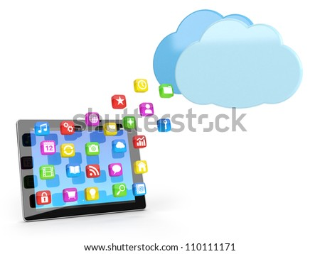 digital tablet pc with app icons and cloud - high quality 3d illustration