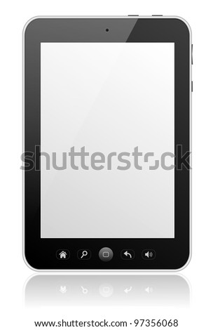 Digital tablet PC with blank screen isolated on white with reflection.