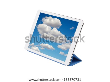 Digital tablet pc with images of a beautiful sky with clouds isolated on a white background