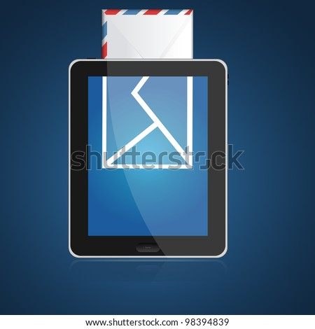 Digital tablet PC with incoming mail icon. Isolated on blue background - stock photo