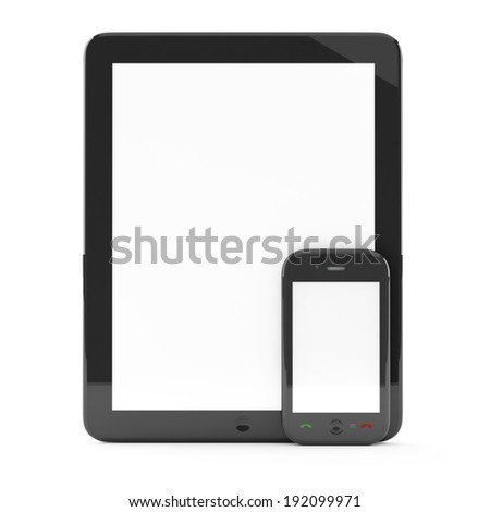 Digital tablet PC with mobile smartphone isolated on white - stock photo