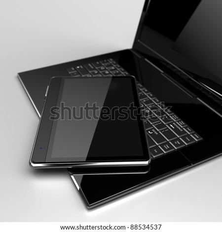 Digital Tablet with laptop concept - stock photo