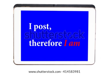 Digital tablet with social media message on blue screen, stock photo