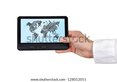 digital tablet with world map in hand