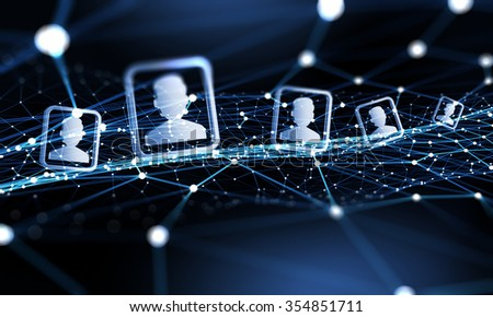 Digital technology background with social networking and interaction concept - stock photo