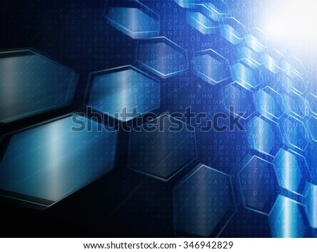 digital technology concept, abstract background with hexagons - stock photo