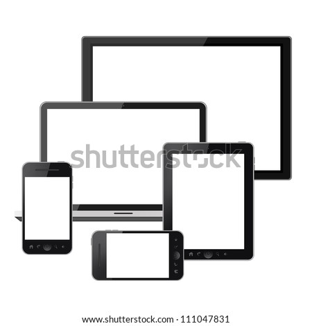 Digital technology devices isolated on white background - stock photo