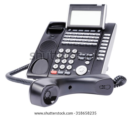Digital telephone set, off-hook, isolated on the white