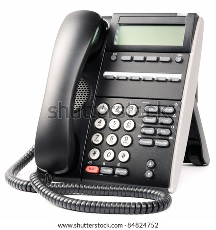 Digital telephone set with LCD over white background - stock photo