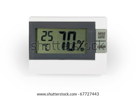 Digital thermo hygrometer. Isolated on white background with clipping path. - stock photo