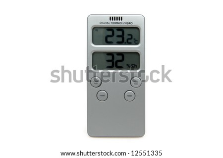 digital thermo hygrometer isolated over white - stock photo