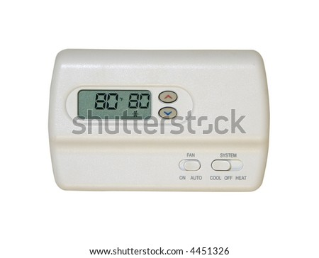 digital thermostat isolated on white background - stock photo