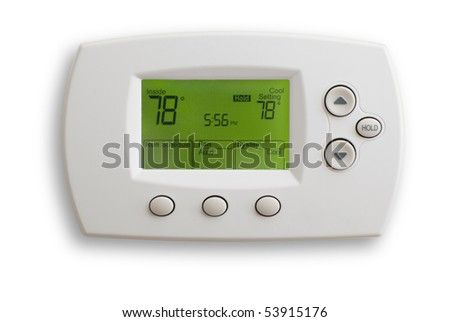 Digital Thermostat set to 78 degrees Fahrenheit. Saved with clipping path, isolated on white background