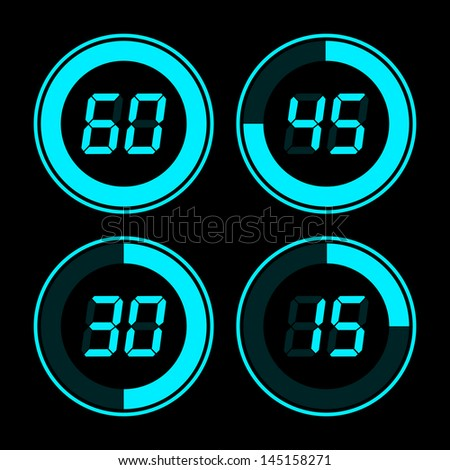 Digital timer. Blue on a black background. - stock photo