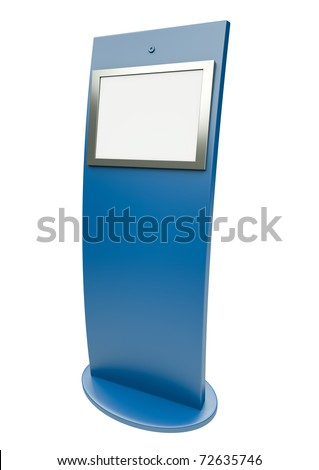 Digital touch screen terminal. 3D render. - stock photo